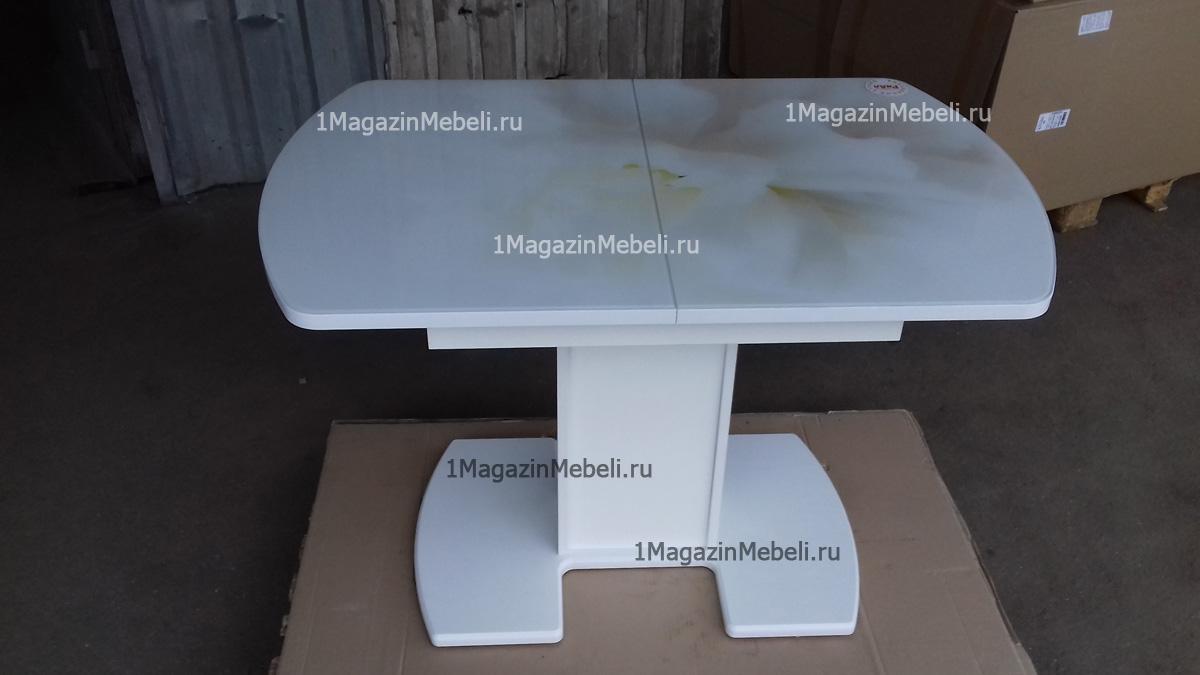 Стол обеденный на одной ножке, стеклянный, раздвижной 110 см. (арт. М4318)