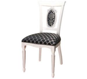 Белый деревянный стул с узорами и резными ножками м3340