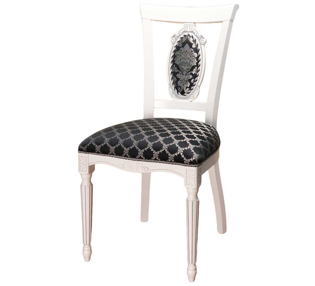 Белый стул из дерева с черным сидением (арт. М3340)