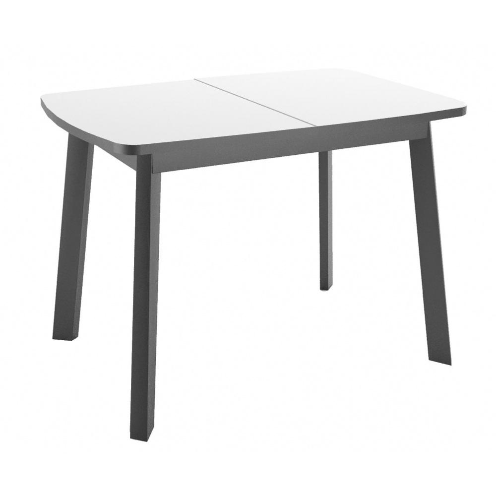 Белый стеклянный стол, раздвижной с черными ножками (арт. М4550)