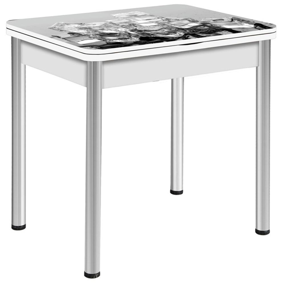 Надежный маленький белый стол для кухни, рисунок — кубики льда (арт. М4558)