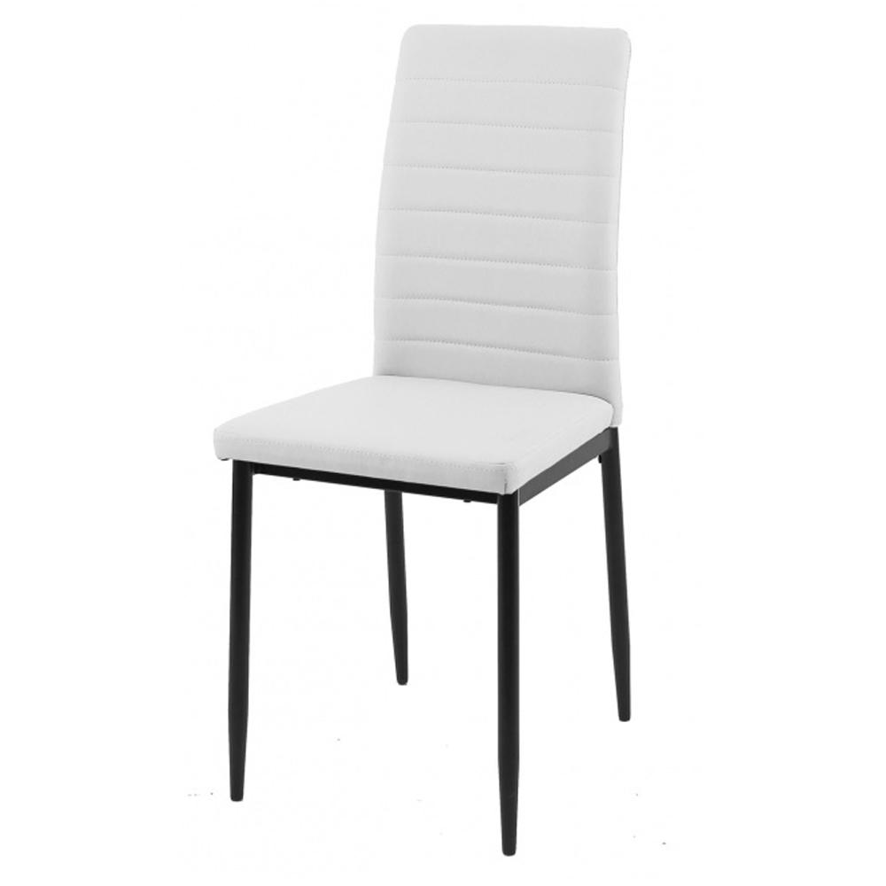 Кухонный белый стул с черными ножками (арт. М3584)