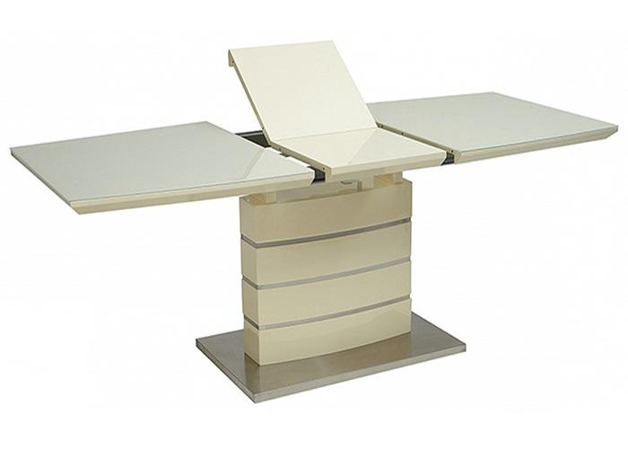 Современный стол на одой опоре крем, 120 см. раздвижной (арт.М4421)