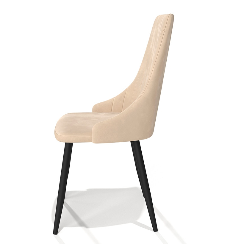 Бежевый мягкий стул для кухни, матовый велюр (арт. М3394)