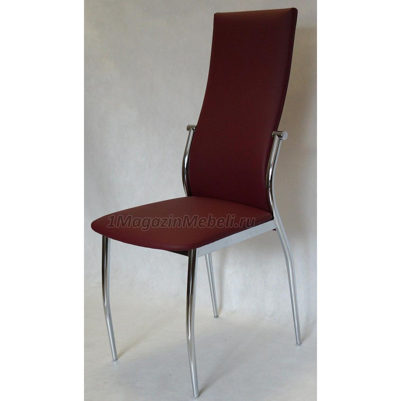 Удобный бордовый стул для кухни металлический, экокожа, хром (арт. М3225)