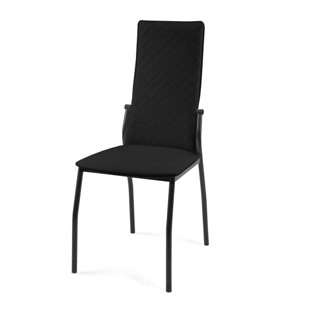 Черный мягкий стул для кухни, каркас черный (арт. М3558)