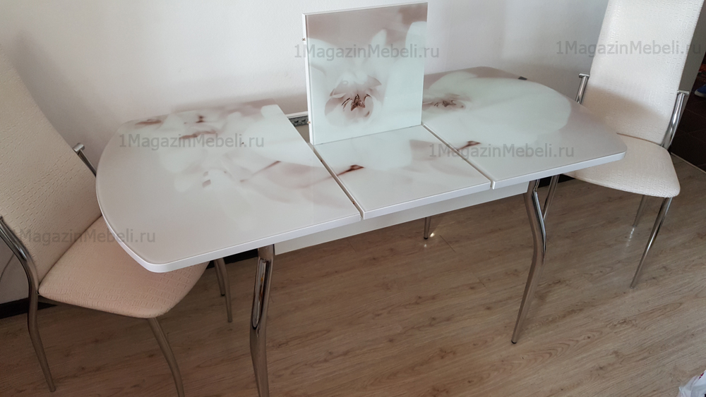 Стол овальный стеклянный раздвижной фотопечать 110-145, 120-155 см. (арт. М4305)