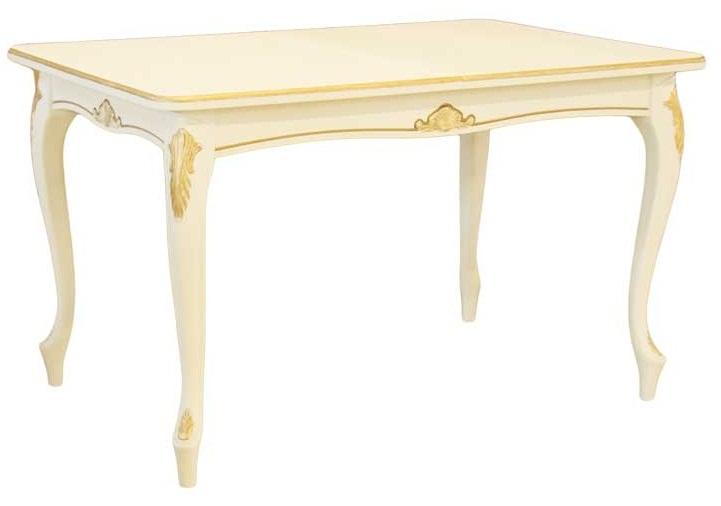 Стол из дерева слоновая кость с золотой патиной 130-180 см. (арт. М4403)