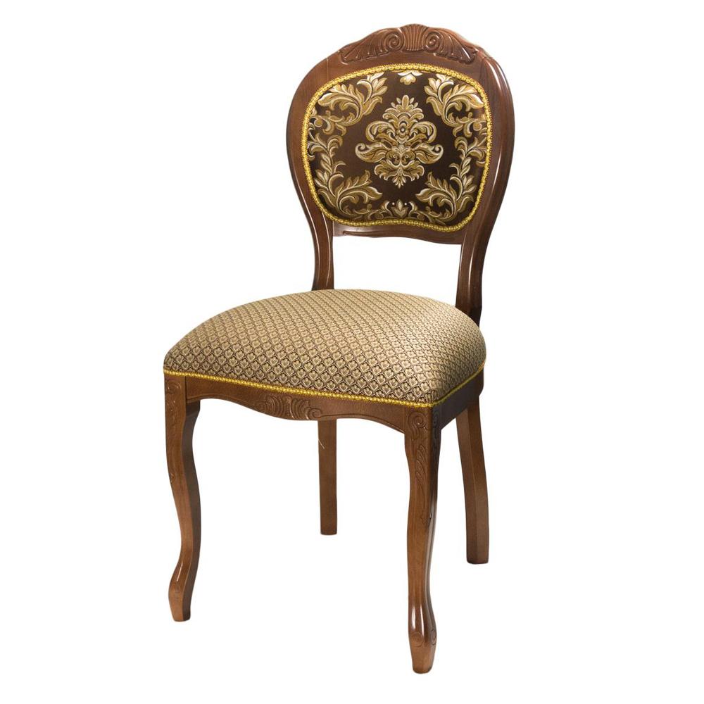 Классический стул для кухни, массив бука, темный орех, ткань в ассортименте (арт. М3574)