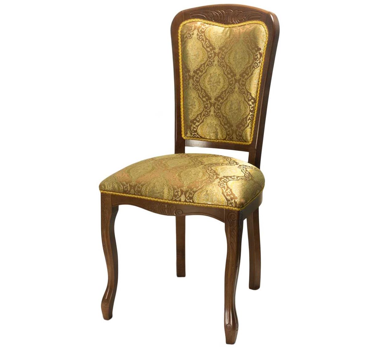Стул деревянный орех ткань золото (арт. М3325)