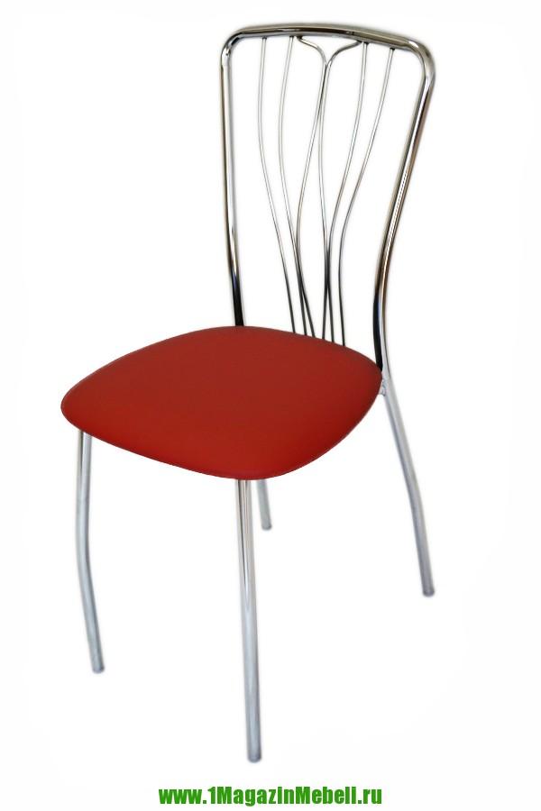 Стул красный со спинкой для кухни, металлический (арт. М3132)