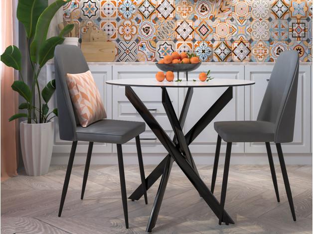 Круглый стеклянный стол 90 см., цвет — кремовый (арт. М4498)