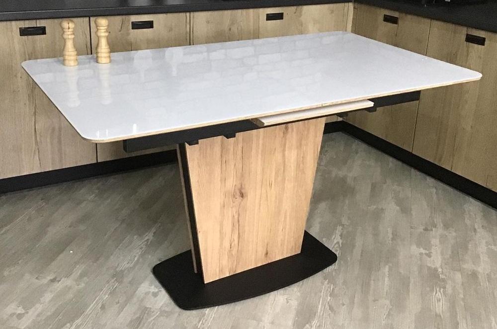 Стол Лион раскладной стекло белое/дуб мотана (арт. М4544)