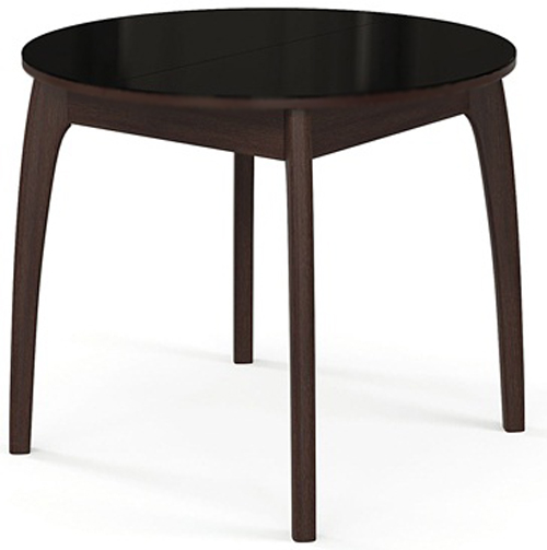 Надежный и практичный стол 90 см. деревянный венге, стекло черное (арт. М4270)