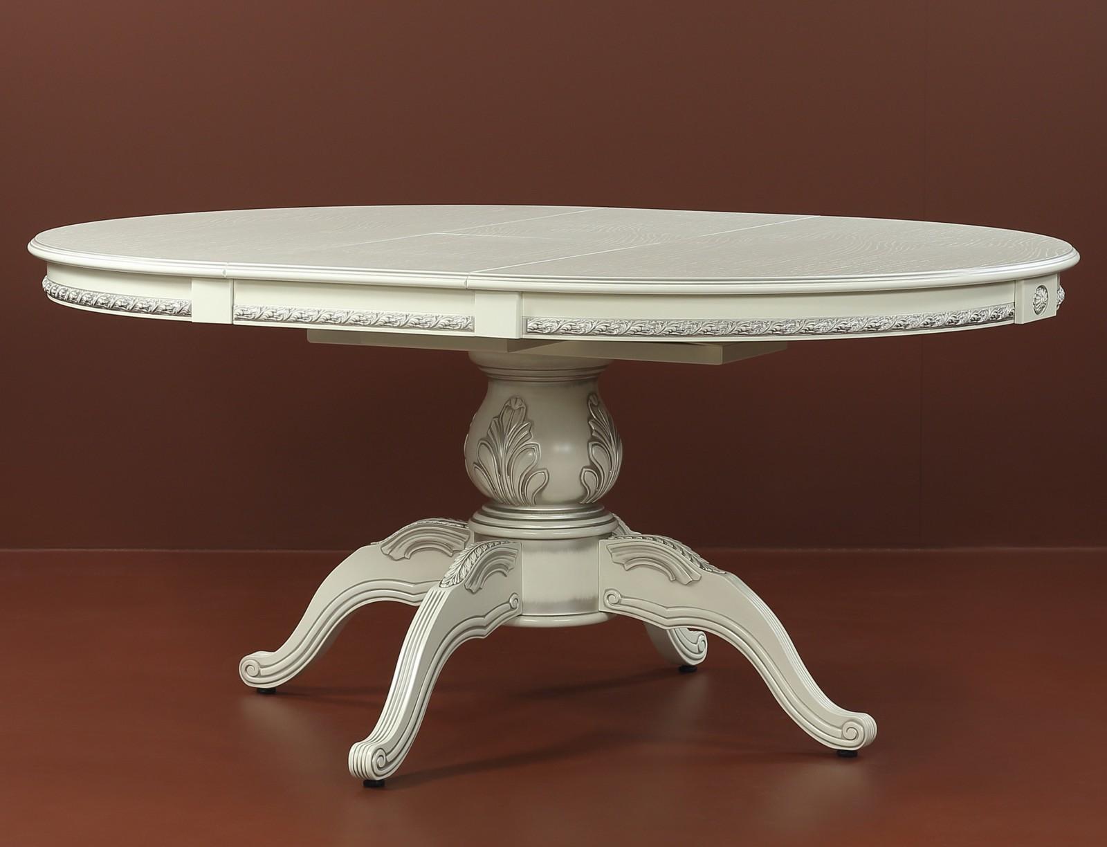 Большой раздвижной круглый стол с классическим дизайном, слоновая кость, 130 см. (арт. М4343)