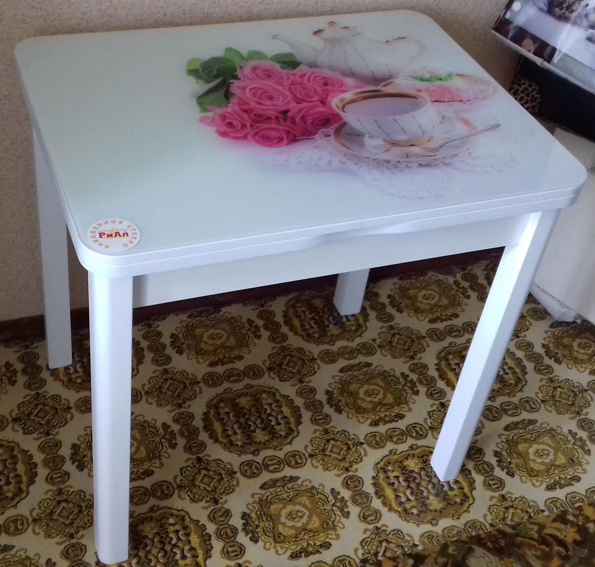 Маленький белый стеклянный стол для кухни 80х60 (арт. М4417)
