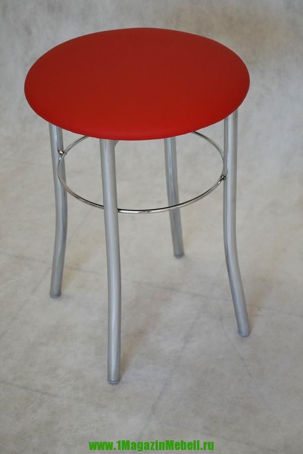 Металлический табурет для кухни, цвет красный, хром (арт. М3117)