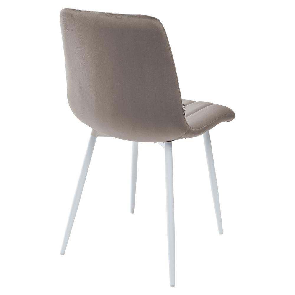 Серый стул с белыми ножками, велюр (арт. М3528)