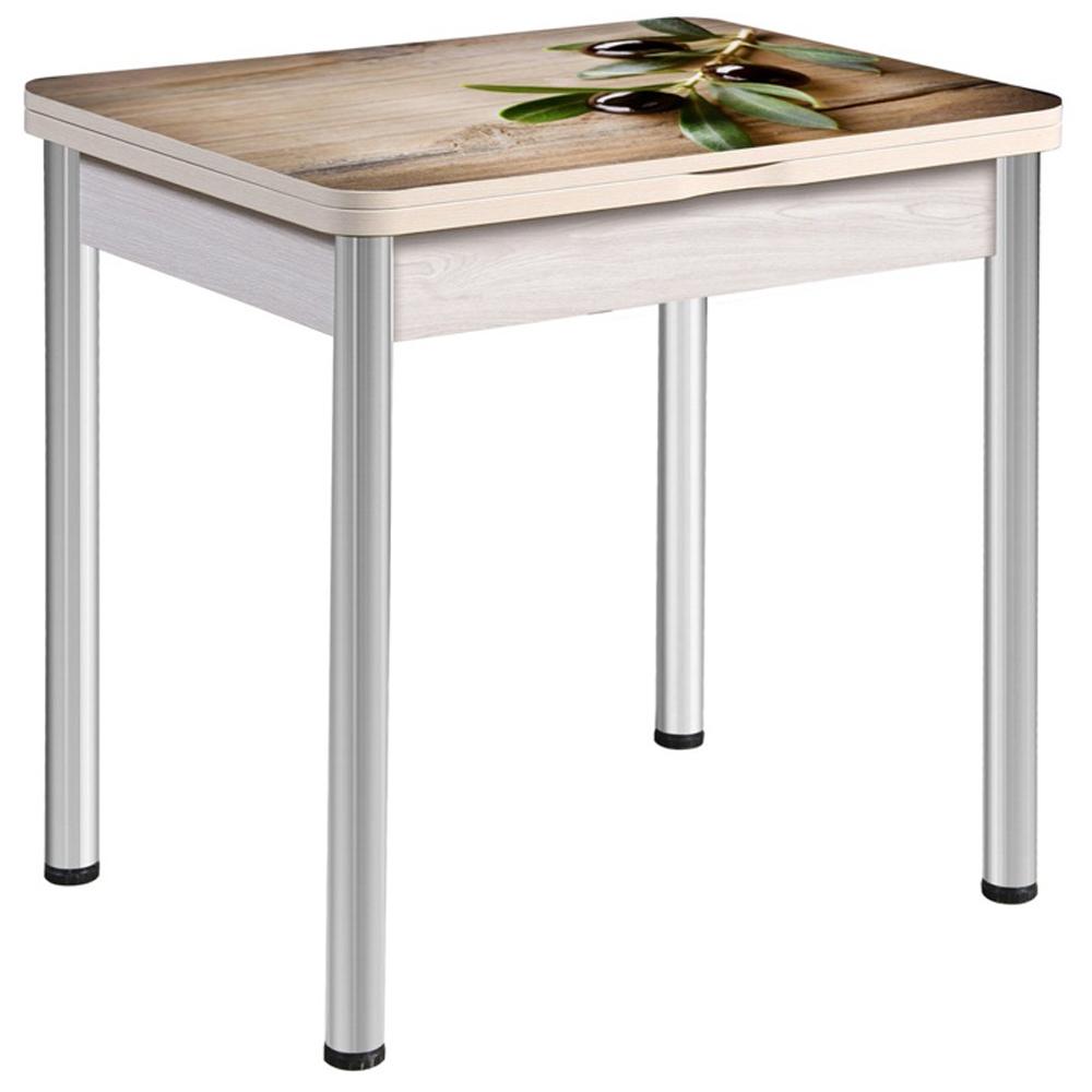 Недорогой стеклянный стол 80х60 дуб беленый фотопечать (арт. М4557)