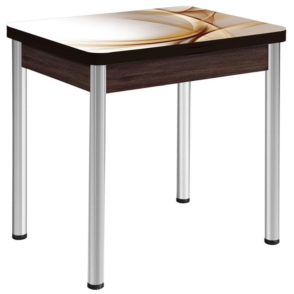 Обеденный стол для маленькой кухни раскладной стеклянный венге (арт. М4556)