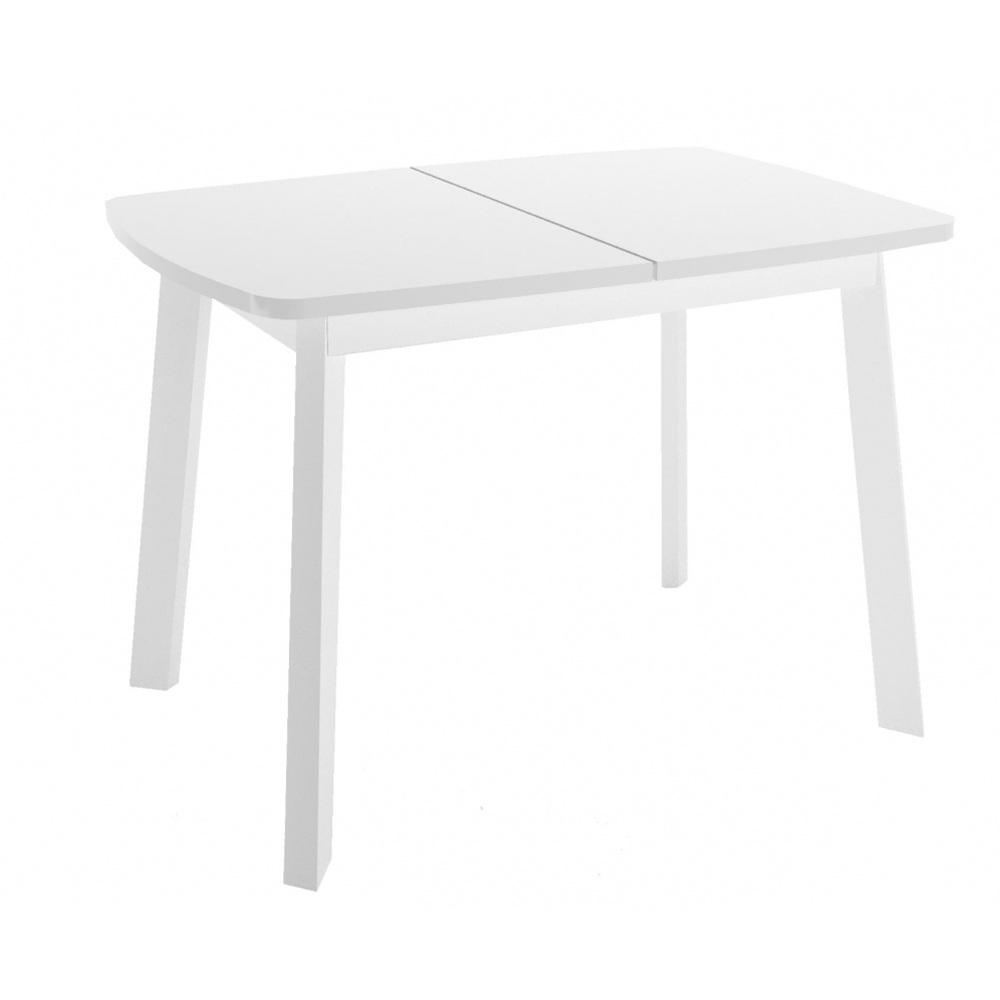 Обеденный стол на белых ножках с белой стеклянной столешницей (арт. М4551)