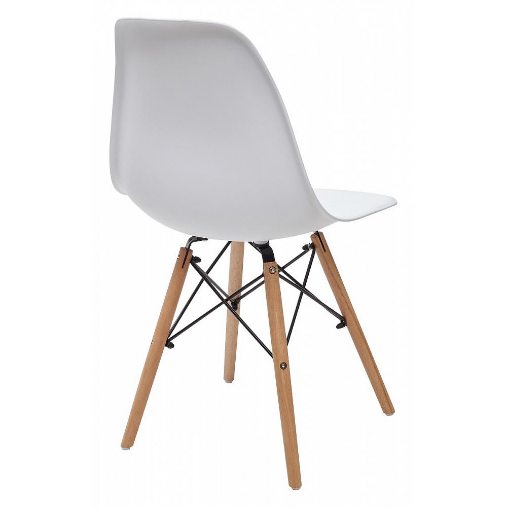 Пластиковый стул с деревянными ножками, белый — орех (арт. М3413)