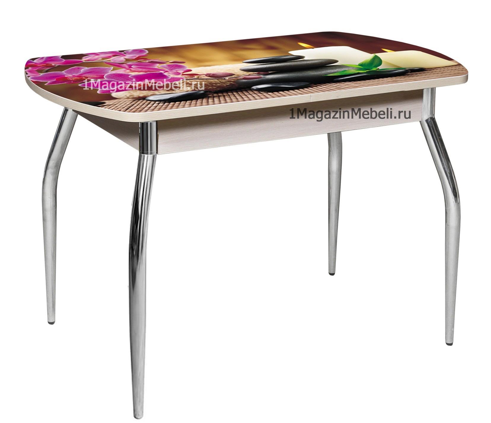 Стол с фотопечатью стеклянный раздвижной 110х70 см. (арт. М4194)