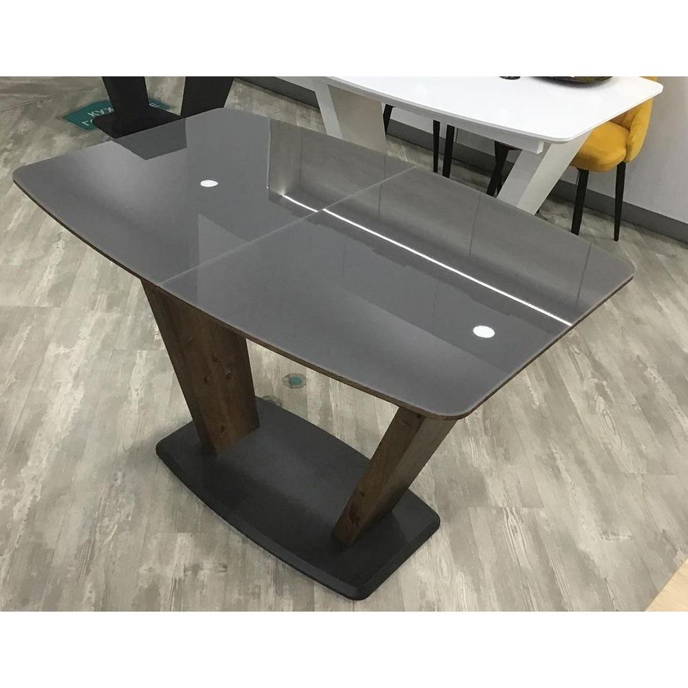 Современный стеклянный стол, графит/лесной орех (арт. М4529)