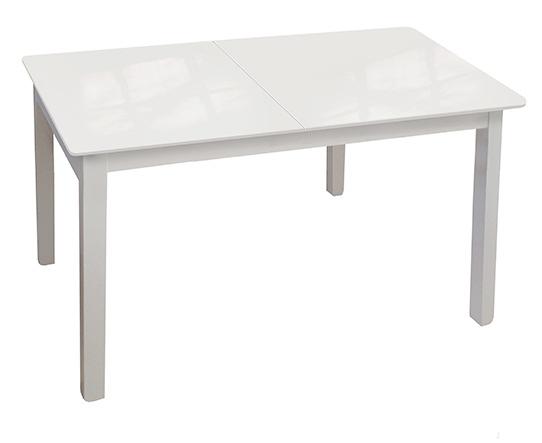 Стеклянный кухонный стол белый, 120х80 см. раздвижной (арт. М4347)