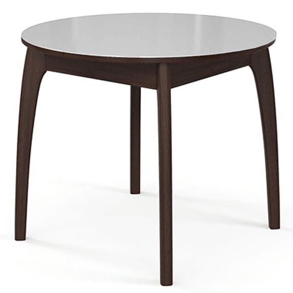 Стол для кухни круглый 90-125 см. венге стекло белое №46 ДН4 (арт. М4330)