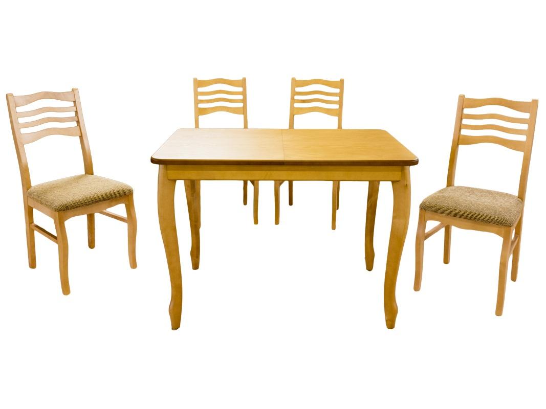 Стол 4 стула комплект, светлый орех м5006