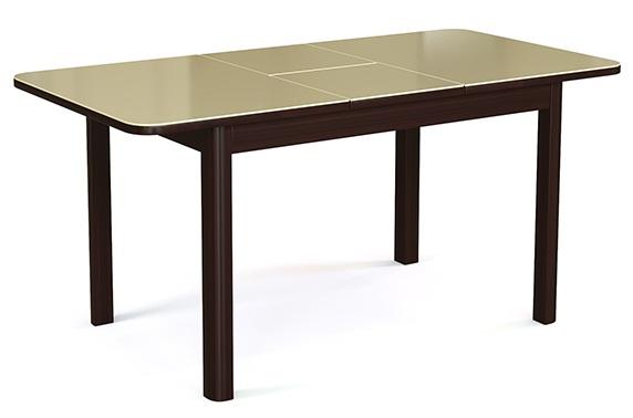 Надежный и практичный в уборке кухонный стеклянный стол венге бежевый (арт. М4350)