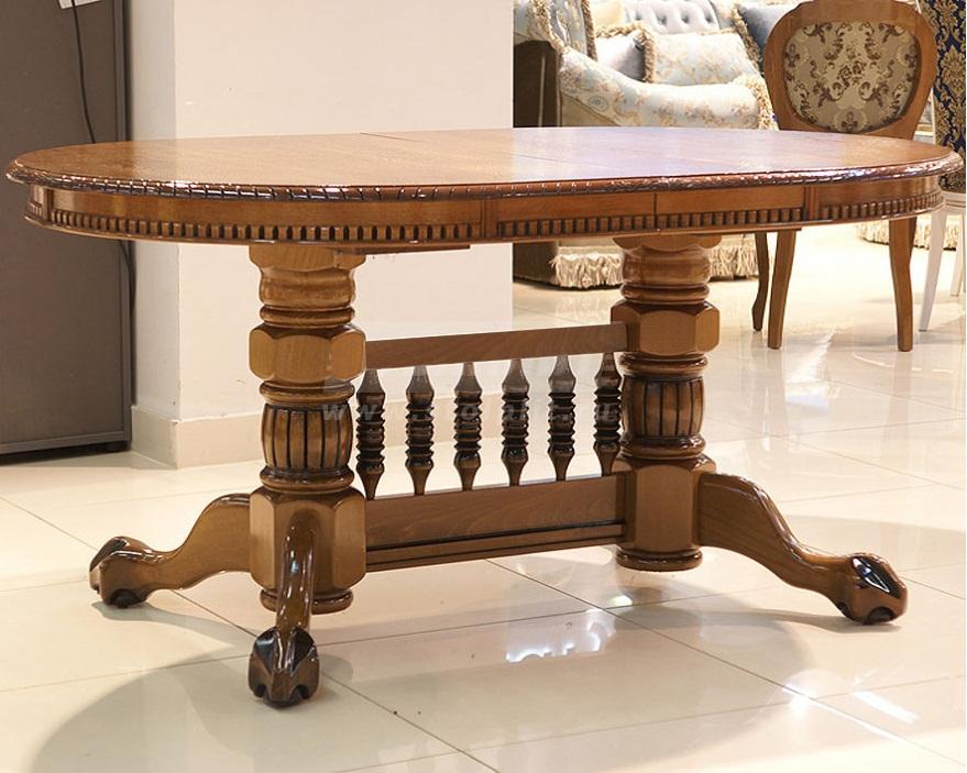 Большой стол из массива бука, глянцевый, цвет орех 160-240 см. стиль классика (арт. М4299)