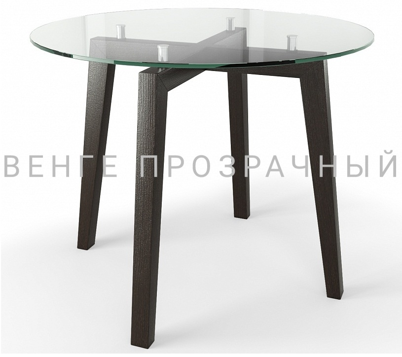 Круглый стеклянный стол на кухню, диаметр 95 см. дуб монтана (арт. М4436)