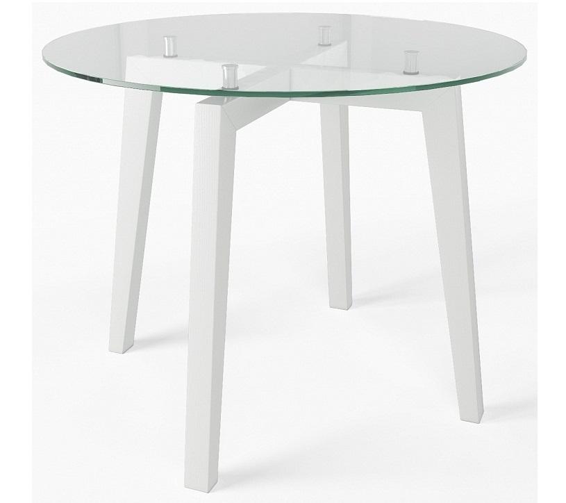 Стол круглый 95 см. с прозрачным стеклом и «деревянными» ножками (арт. М4433)