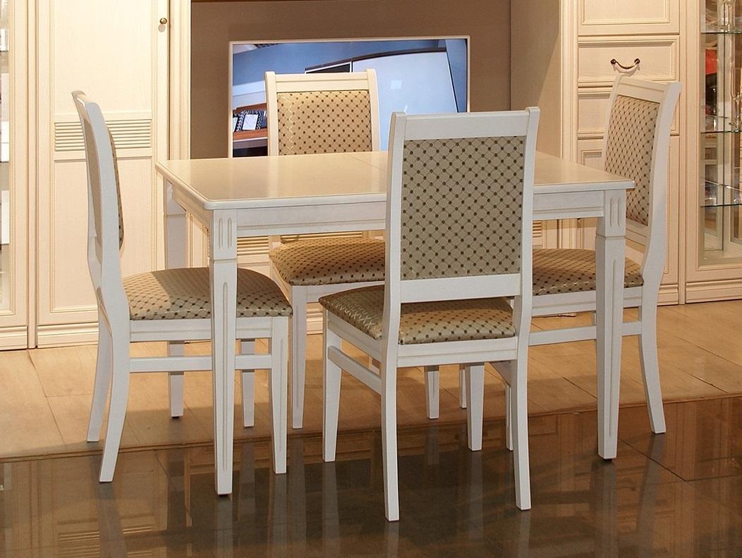 Классический обеденный стол белый с патиной, раздвижной 110*75 см. (арт. М4335)