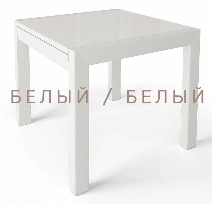 Квадратный стеклянный стол Джокер лайт 70 см. венге белый (арт. М4432)