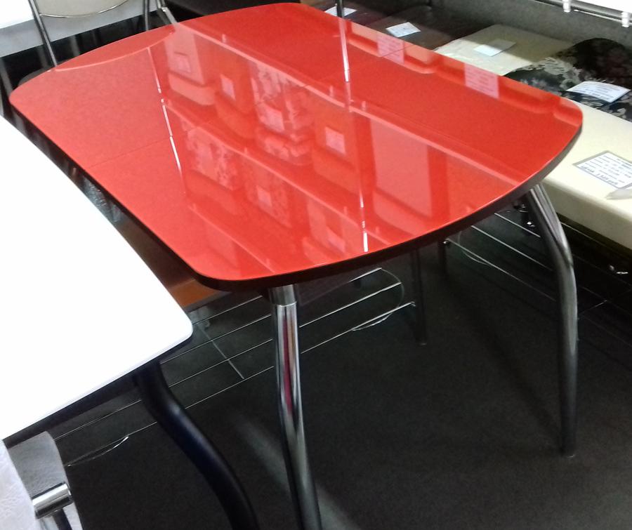 Красный стол для кухни стеклянный, раздвижной, овальный (арт. М4235)
