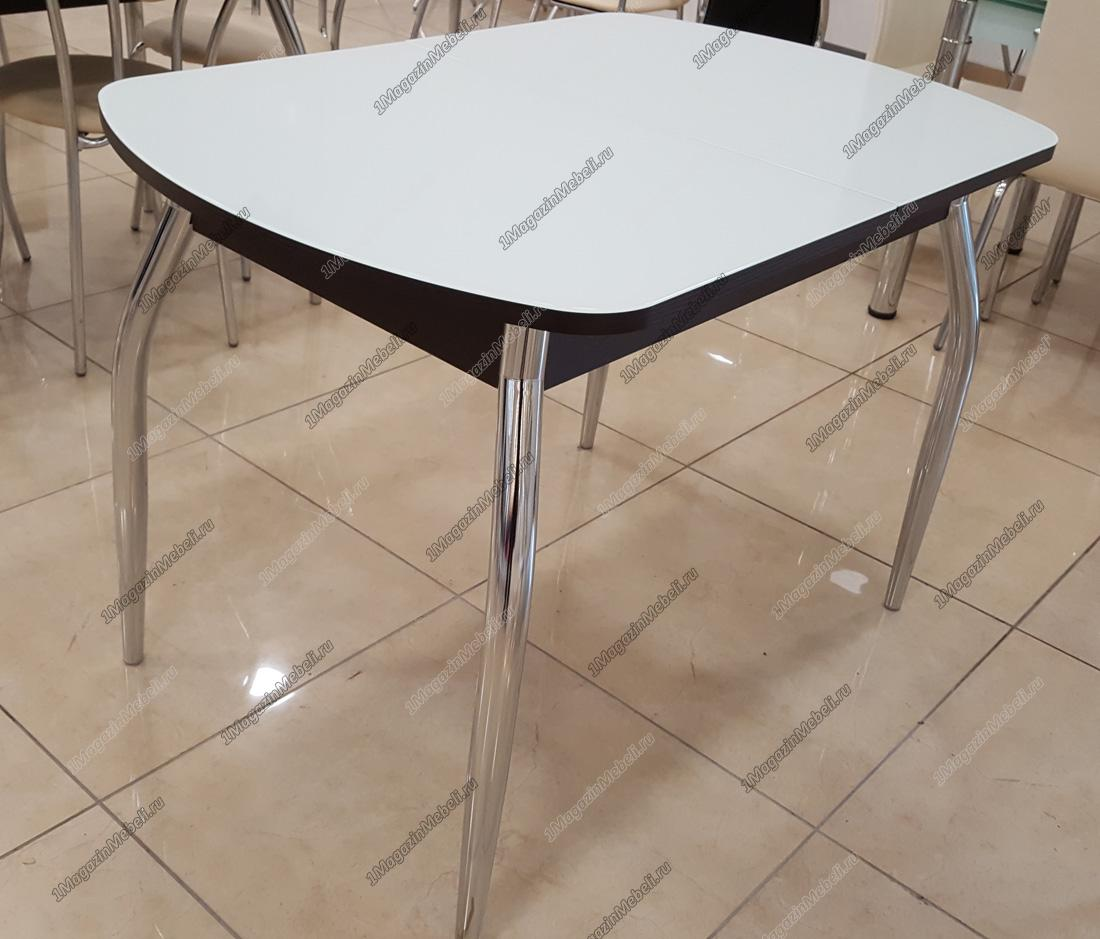 Стол стеклянный белый/венге, кухонный, 110х70 (арт. М4259)