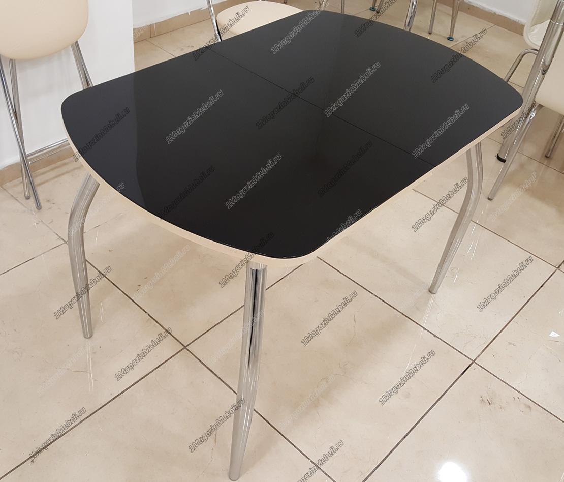 Стол стеклянный овальный 110х70 раздвижной, черный (4190)