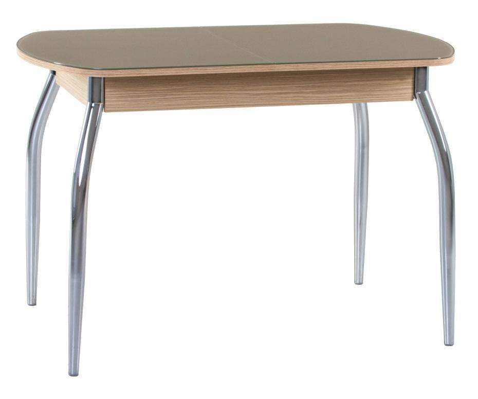 Кухонный раздвижной стол зебрано солнечный, стекло матовое капучино 110х70 см. (арт. М4354)