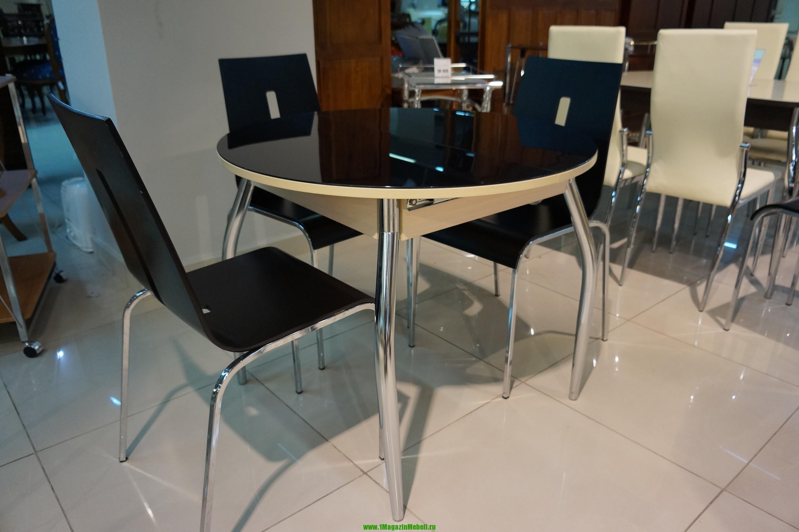 Круглый стол Гала-3 стеклянный, раздвижной, черный (арт. М4143)