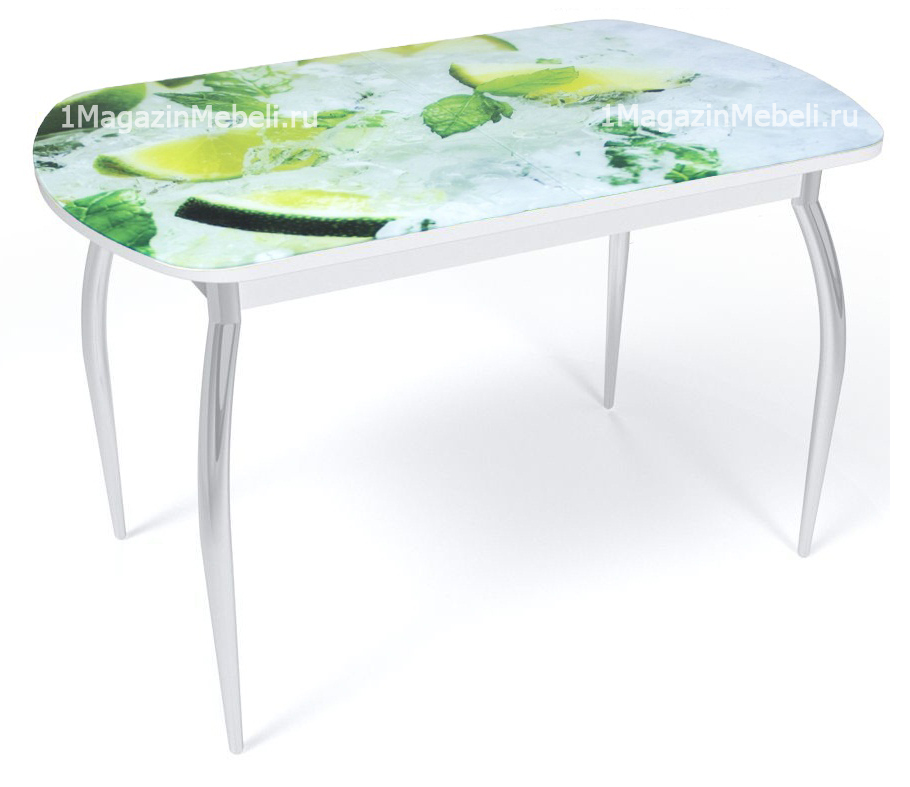 Стол с фотопечатью 110 и 120 см. лаймы и мята нераздвижной (арт. М4395)