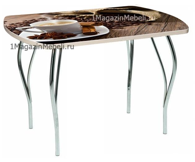 Стеклянный овальный стол 120 на 80 с фотопечатью, ножки хром (арт. М4303)