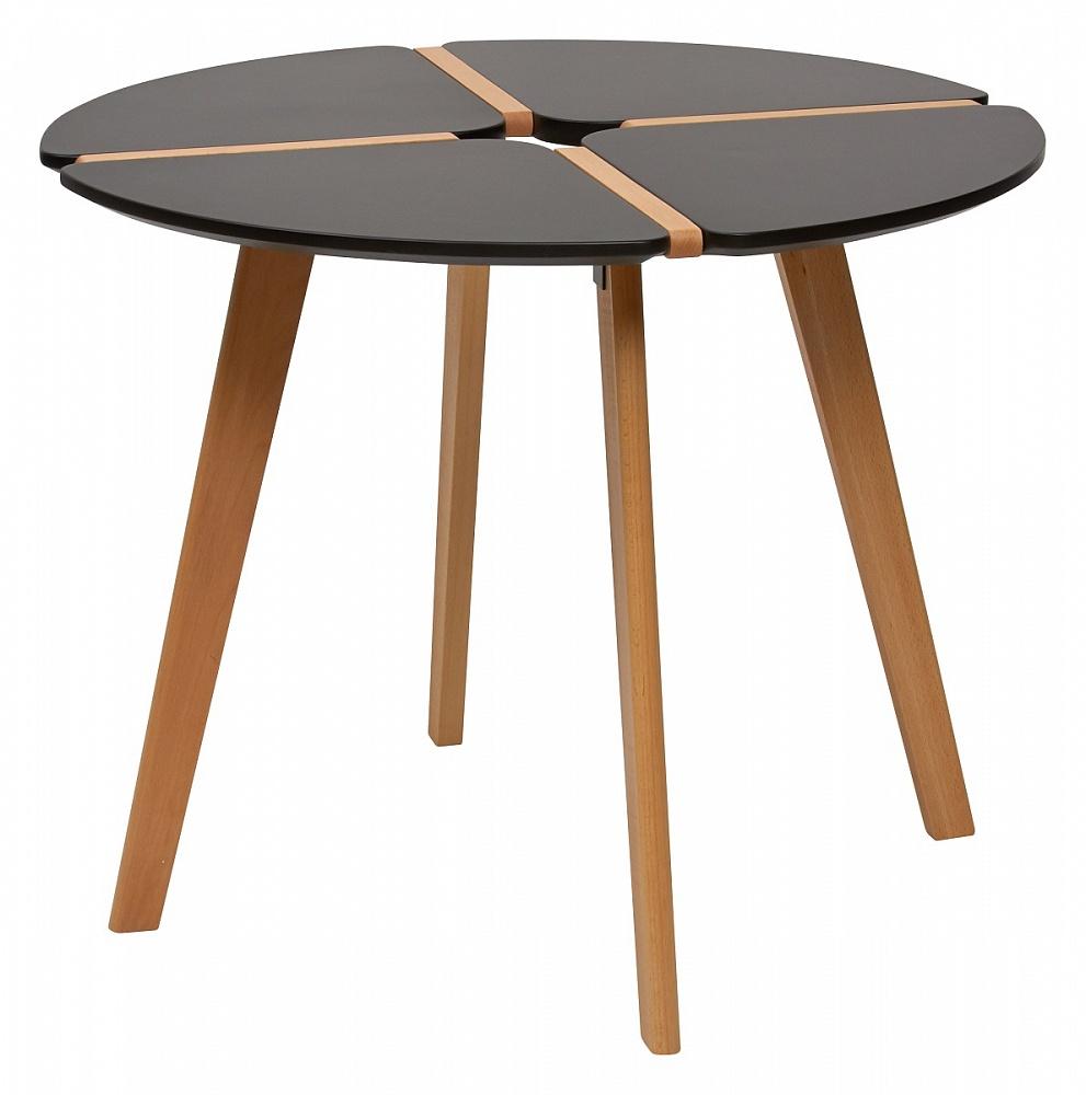 Стол обеденный черный, ножки орех, 90см. (арт. М4452)