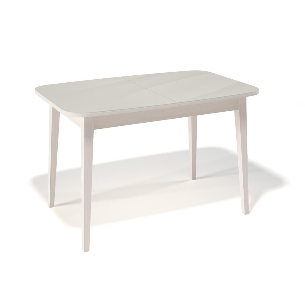 Стол Kenner 1200M обеденный, раздвижной, стеклянный, крем — кремовый глянцевый (арт. М4475)