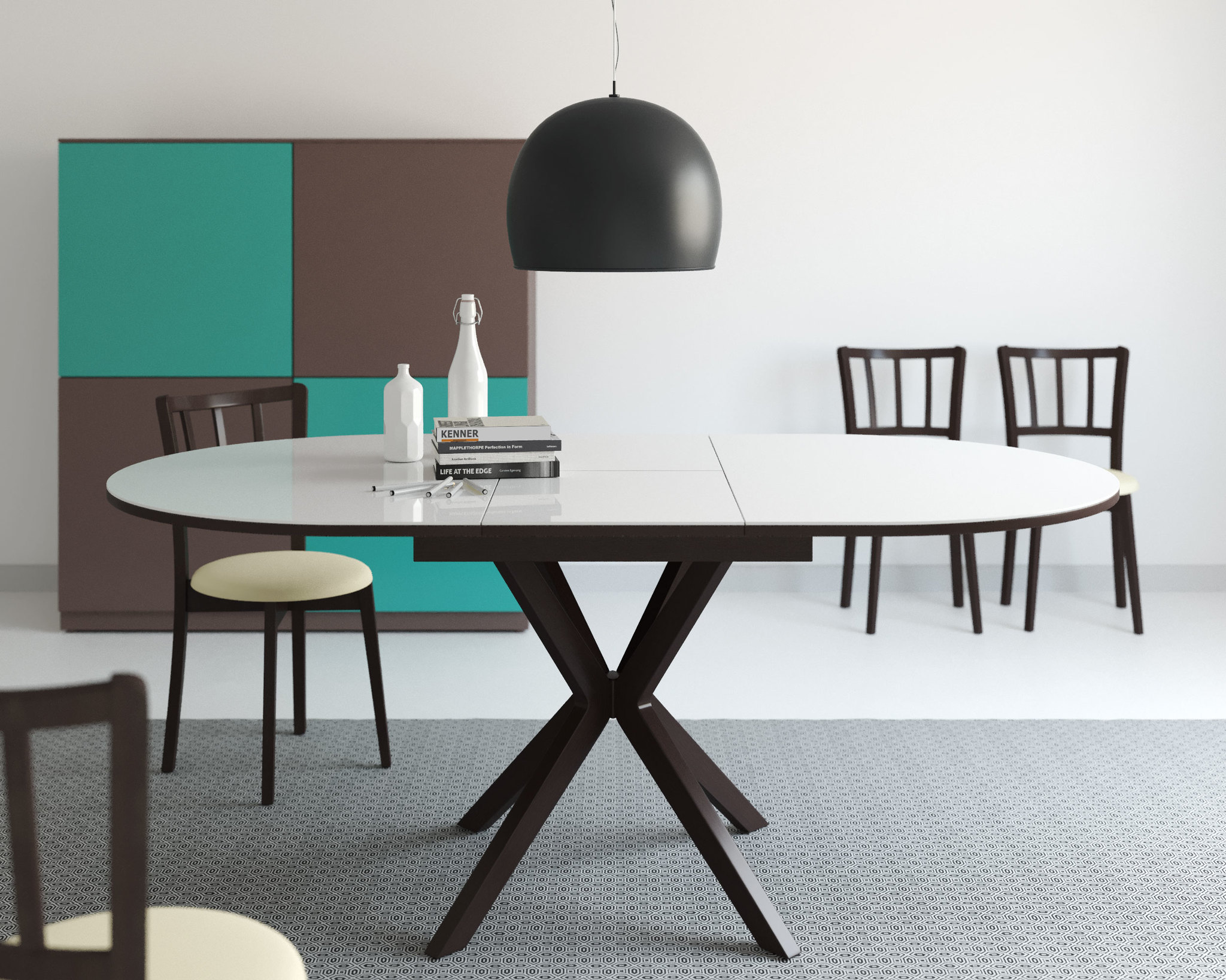 Стол обеденный овальный венге крем, стекло матовое 110х100 см. (арт. М4495)