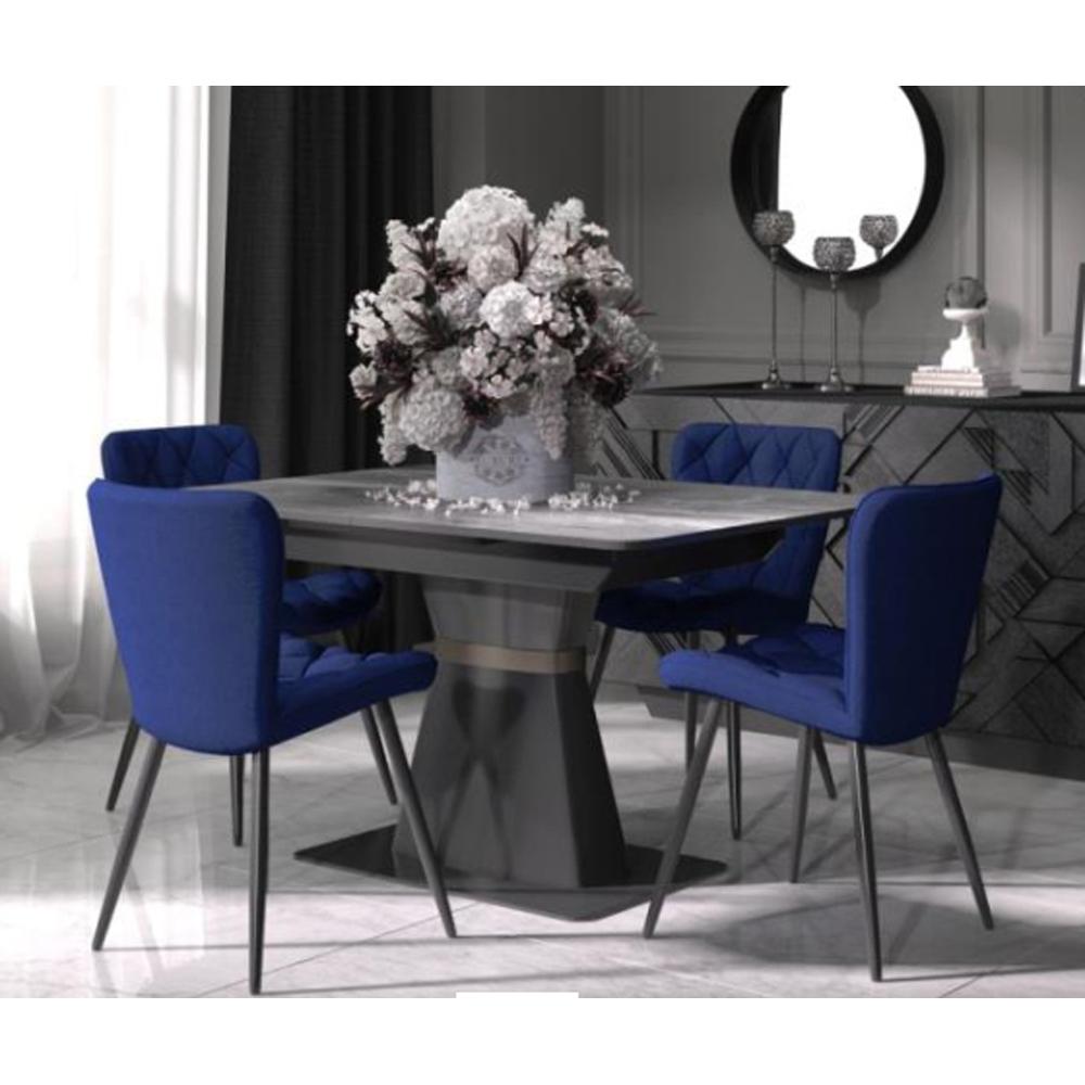 Кухонный стол, черный, стеклянный, на одной ножке (арт. М4502)