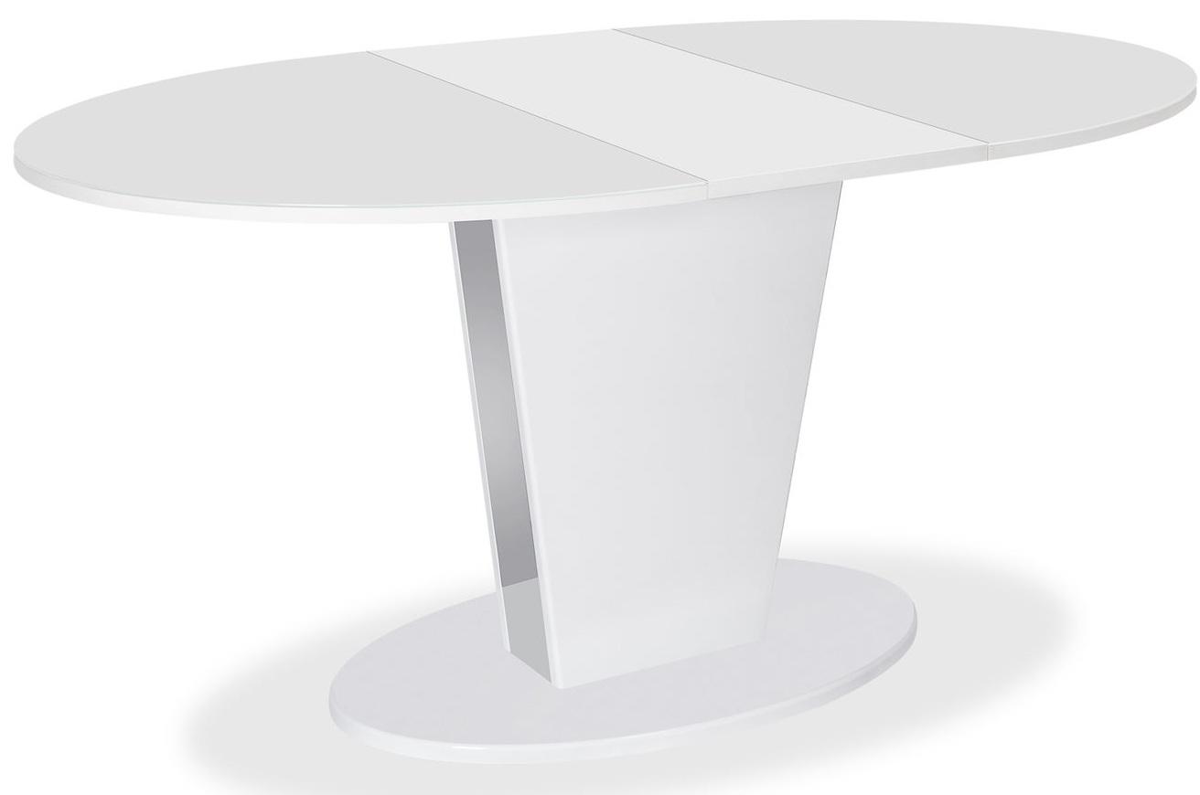 Стол эллипс стеклянный 120 см. обеденный, белый (арт. М4511)