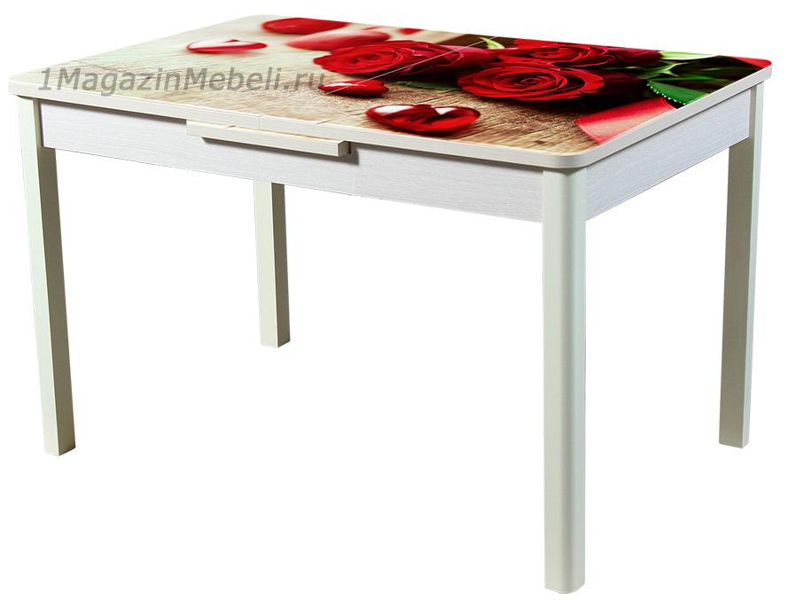 Стол с фотопечатью 120 см. стеклянный раздвижной микролифт (арт. М4282)